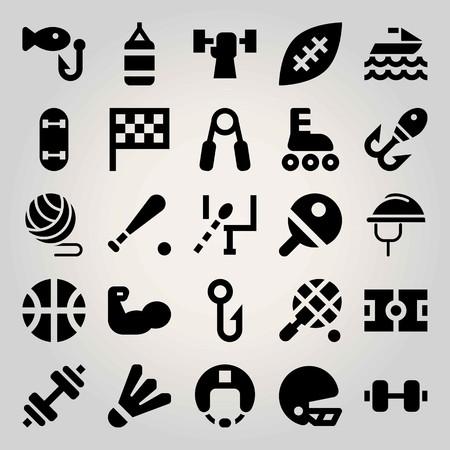 Sport vector icon set. tennis, ball, football and jet ski Illustration