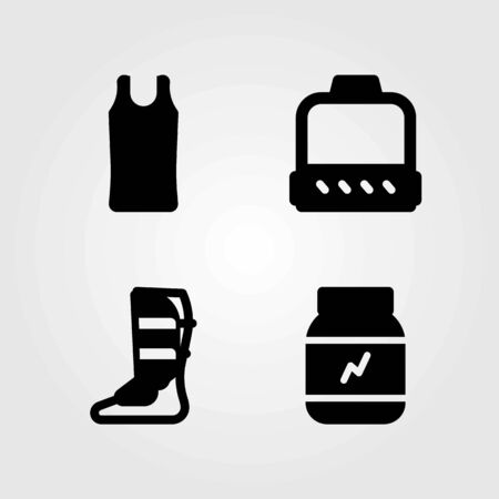 Fitness vector icons set. shirt, protein and shinpad Çizim