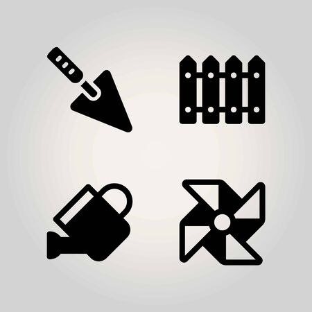 Agriculture vector icon set. pinwheel, fence, watering can and can