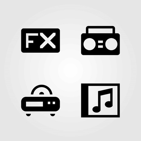 Multimedia vector icons set. compact disk, boombox and radio