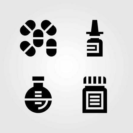 Medical vector icons set. Nasal spray, pills and flask icons.