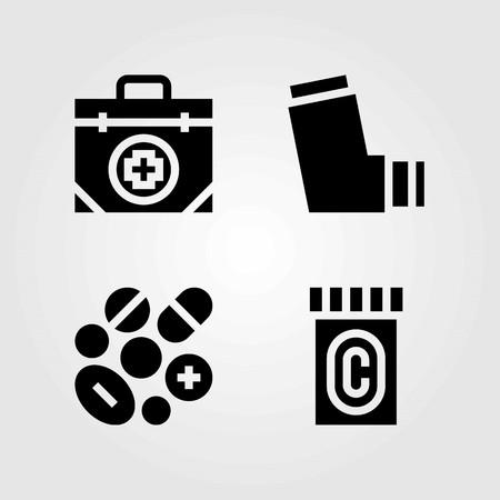 Medische vector iconen set. inhalator, medicijnen en pillen