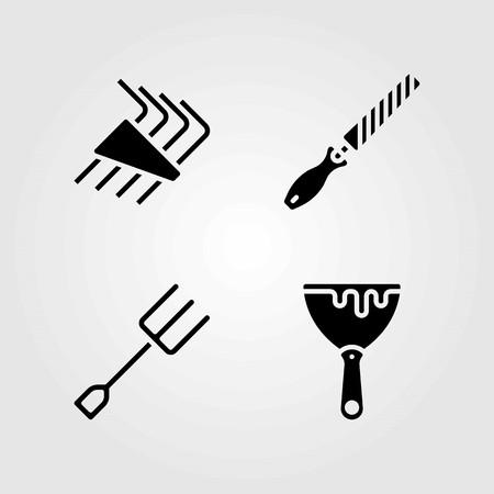Tools vector icons set. scraper, chisel and allen keys