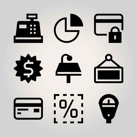 Technology vector icon set. parking meter, pie chart, cash mashine and lamp