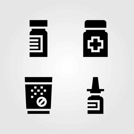 Medical vector icons set. Nasal spray, tablets and medicine.