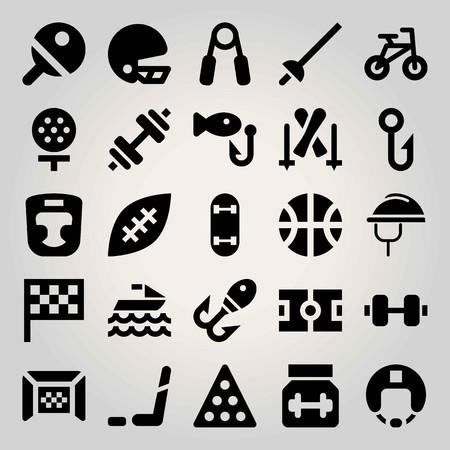 Sport vector icon set. jet ski, basketball, handgrip and ball