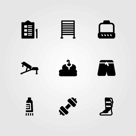 Fitness vector icons set. cloth, bench and gym bars