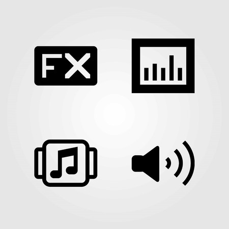 Multimedia vector icons set. analytics, volume and music player