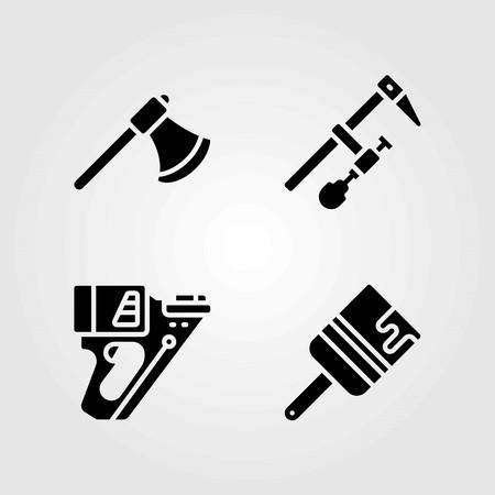 Tools vector icons set. brush, clamp and nail gun