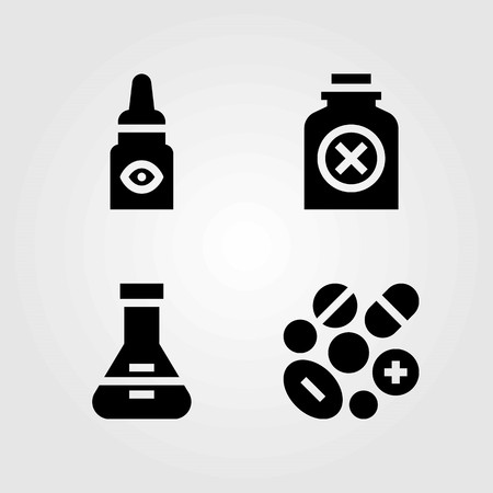Medical vector icons set. bottle, pills and eye drops