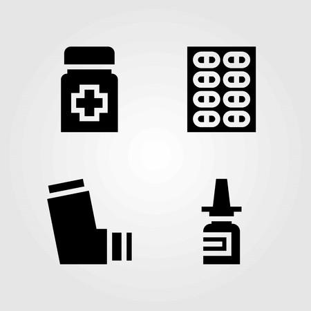Medische vector iconen set. inhalator, pillen en medicijnen
