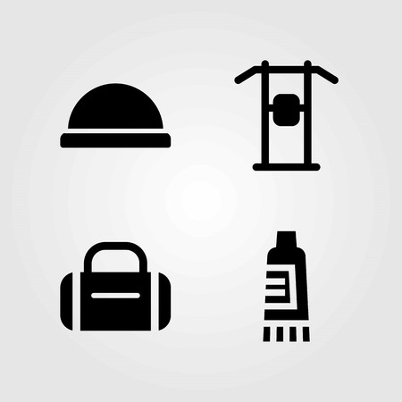 Fitness vector icons set. pull up, cream and pull up bar Illustration