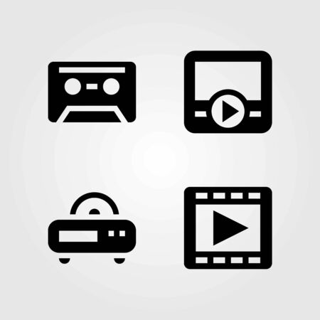 Technology vector icons set. radio, movie player and cassette Ilustração