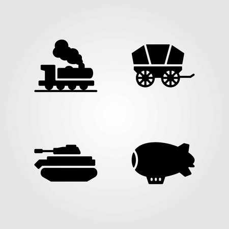 Transport vector icons set. zeppelin, tank and wagon Stok Fotoğraf - 94066718