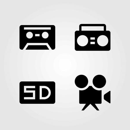 Multimedia vector icons set. video camera, cassette and boombox Ilustração