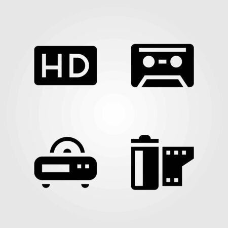Technology vector icons set. film roll, hd and radio