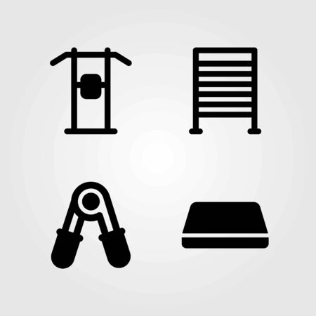 Fitness vector icons set. block, gym bars and pull up