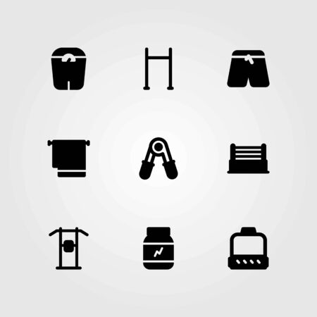 Fitness vector icons set. sports pants, pull up bar and pull up