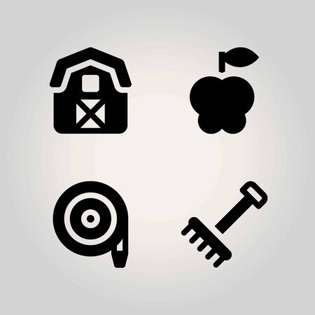Agriculture vector icon set. hose, apple, barn and rake Ilustrace