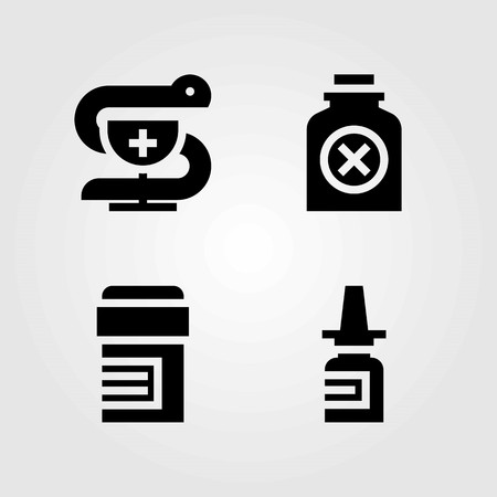 Medical vector icons set. pharmacy, nasal spray and pills Illustration