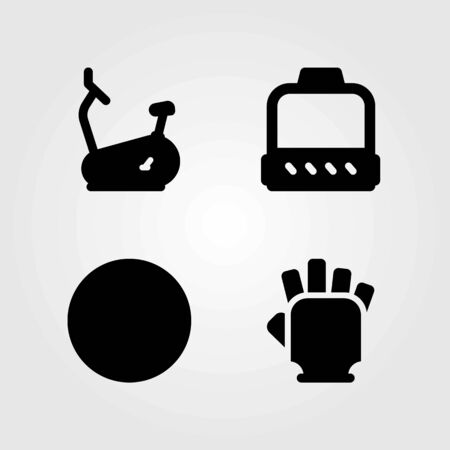 Fitness vector icons set. pulley, ball and stationary bike Illustration