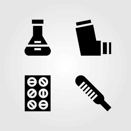 Medische vector iconen set. Pictogrammen voor tabletten, thermometer en inhalator. Stock Illustratie