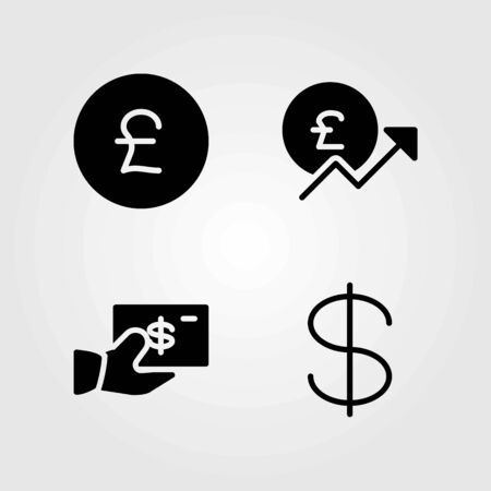 Sign vector icons set. pound sterling and dollar