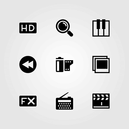 Multimedia vector icons set. radio, keyboard and fx Illustration