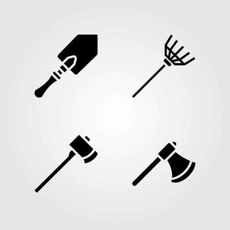 Garden vector icons set. axe, rake and shovel