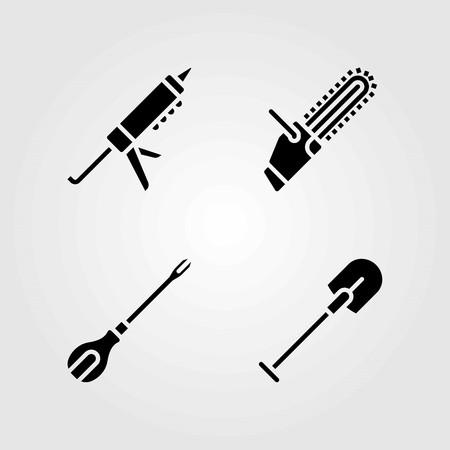 Tools vector icons set. chainsaw, sealant gun and screwdriver Illustration