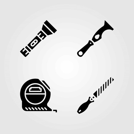 Tools vector icons set. chisel, torch and tape
