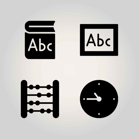 School vector icon set. book, abacus and clock