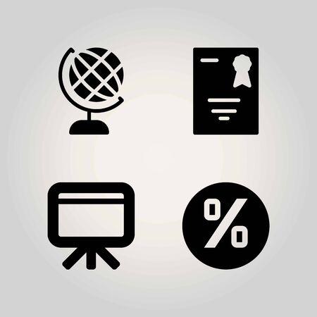 School vector icon set. diploma, whiteboard and earth globe