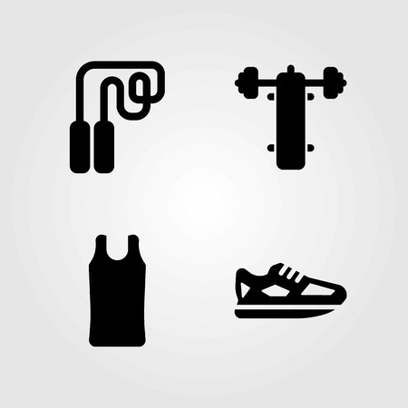 Fitness vector icons set. running shoes, shirt and running Çizim