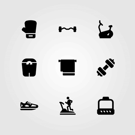 Fitness vector icons set. boxing, pulley and running Çizim