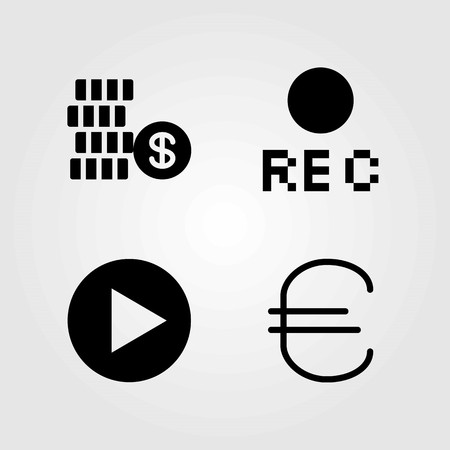 Buttons vector icons set. rec, dollar and euro Çizim
