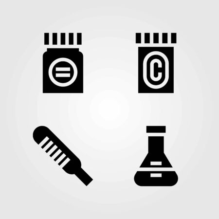 Medical vector icons set. medicine, flask and thermometer 向量圖像