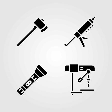 Tools vector icons set. sealant gun, drill and axe Illustration