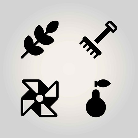 Agriculture vector icon set. wheat, pinwheel, rake and pear Vectores