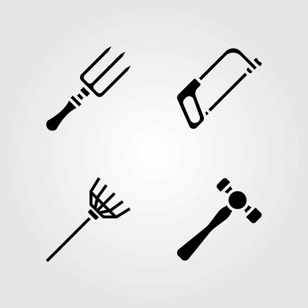 Garden vector icons set. rake, fork and handsaw