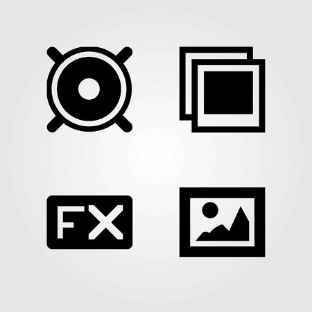 Multi media buttons vector icons set. Photo, picture and fx.
