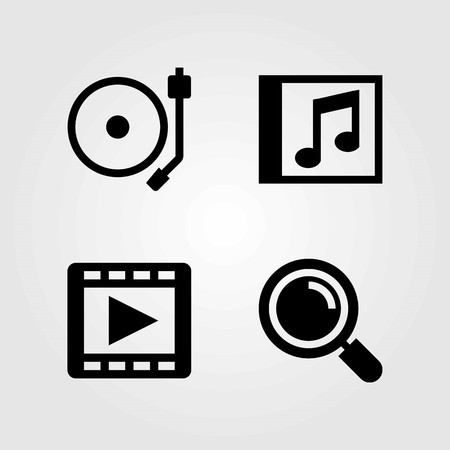 Multimedia vector icons set. Movie player, turntable and compact disk Çizim