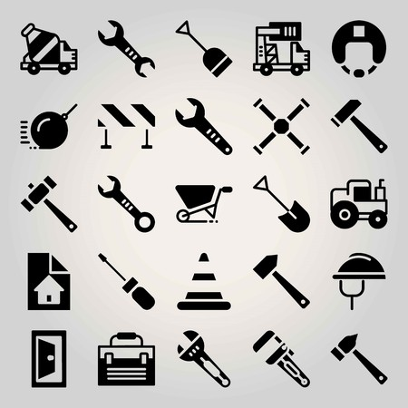 Construction vector icon set. Demolition, toolbox, truck and barrier