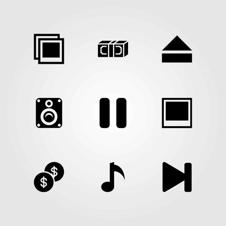 Buttons vector icons set. speaker, pause and photo