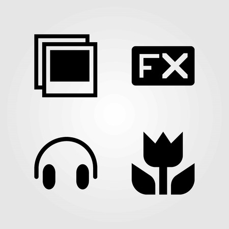 Multimedia vector icons set. headphones, macro and photo