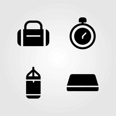 Fitness vector icons set. hammed, punching bar and chronometer