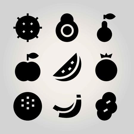 Fruits vector icon set. watermelon, banana, coconut and lychee