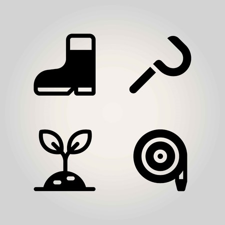 Agriculture vector icon set. boot, sickle, hose and sprout