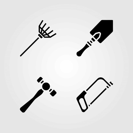 Garden vector icons set. rake, handsaw and hammer