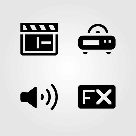 Multimedia vector icons set. volume, fx and clapperboard